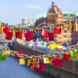Lockers at Speicherstadt bridge symbolize love for ever — Stock Photo #24225573