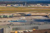 Desembarque na nova pista no aeroporto de frankfurt — Fotografia Stock