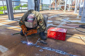 Welder at work at the famous industry site in Neuenkirchen — Stock Photo