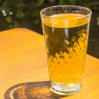 Cidre glasses standing on an outdoor table in the sun as symbol — Stok fotoğraf