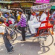 Indimen uses rickshaw for transportation in old Delhi — Stock Photo #26935831