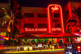 Night view at Ocean drive in South Miami — Stock Photo