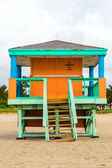 Wooden bay watch huts in Art deco style — Stock Photo