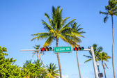 Street sign of famous street Ocean Drice in Miami South — Stock Photo