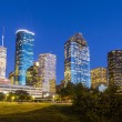 View on downtown Houston by night with bridges in colorful light — Stock Photo