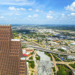 aerial of modern buildings in downtown houston — Stock Photo
