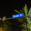 Oean Drive street sign at night in South beach — Stock Photo
