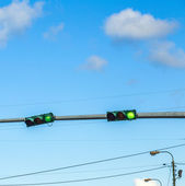 Traffic regulation in america with traffic lights — Stock Photo