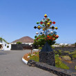 Entrance and sculpure of an artist, Lanzarote,Spain — Foto Stock