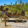 Stock Photo: Old wagon and coaches at entrance of Furnance Creek Ranc