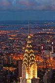 Luchtfoto panoramisch uitzicht over bovenste manhattan van rijk staat bui — Stockfoto