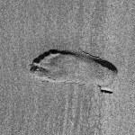 Mark of feet at the beach — Stock Photo #30259287
