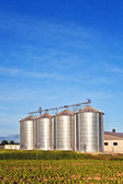 Silos in beautiful landscape — Stock Photo