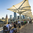 Aerial of Frankfurt  in late afternoon from panorama platform — Stock Photo