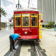 Operator works on the streetcar at Canal street — Stok fotoğraf