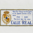 Old street name Calle Real painted on tiles in the French quarte — Stock Photo