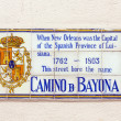 Old street name Camino de Bayona painted on tiles in the French — Stock Photo