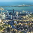 Aerial of town and beach of Miami — Photo