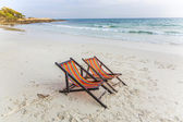 Canvas chair at the beach — Stock Photo