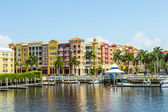 Colorful Spanish influenced buildings overlooking the water in t — Stock Photo