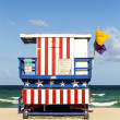 Wooden life guard huts in art deco style in miami — Stok fotoğraf
