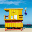 Wooden life guard huts in art deco style in miami — Foto Stock