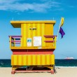 Wooden life guard huts in art deco style in miami — Stock Photo