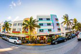 View at Ocean drive in Miami in the art deco district — Stock Photo