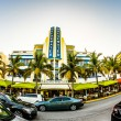 View at Ocean drive  in Miami with breakwater hotel in the art d — Stock Photo