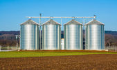 Silver silo in rural landscape — Foto Stock