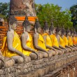 Buddha statues at the temple of Wat Yai Chai Mongkol — Stockfoto
