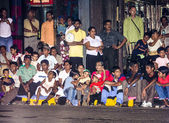 People watch the festival Pera Hera by night — Stock Photo