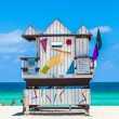 People enjoy the beautiful south Beach in Miami with famous life — Stock Photo