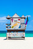 Beautiful south Beach in Miami with famous lifeguard towers in — ストック写真