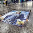 Floor painting of holy Mary as Angel — Stock Photo