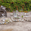 ������, ������: Cemetery of Carmel Mission with graves of indians decorated wit