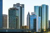 Skyline with the 155 meter high twin towers Deutsche Bank I and — Stock Photo