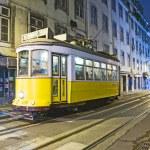 Lisbon at night, famous tram, historic streetcar is running — Stock Photo