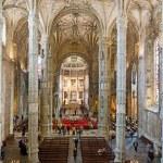 Church Santa Maria in the beautiful Jeronimos Monastery in Lisbo — Stock Photo #35497449