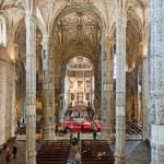 Church Santa Maria in the beautiful Jeronimos Monastery in Lisbo — Stock Photo #35497807