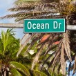 Ocean drive sign in South Beach, the famous art deco street in M — Stock Photo #35740465