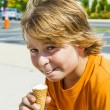 A young boy eating a tasty ice cream — Stock Photo
