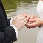 Wedding couple are swearing lifetime loyality — Stock Photo #35824985