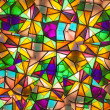 Beautiful colored glass windows with asymetric pieces — Stock Photo
