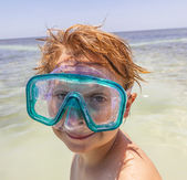 Boy with diving mask — Stock Photo