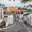 A cobblestone street in the Unesco world heritage site of Goias — Stock Photo
