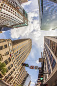 View to historic and modern skyscraper in downtown Houston — Stock Photo