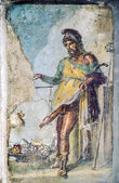 Ancient roman fresco of the roman god of fertility and lust Pri — Stock Photo