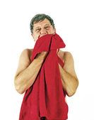 Man toweling hair after shower — Foto Stock