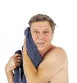 Man toweling hair after shower — Stock Photo